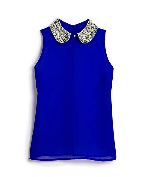 blue blouse for christmas party that s what we call a pop of color this embellished top from marshalls is for a