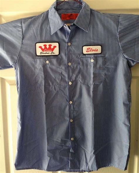 Jj75032 Size L By Be Style elvis crown electric patch striped mechanic work shirt