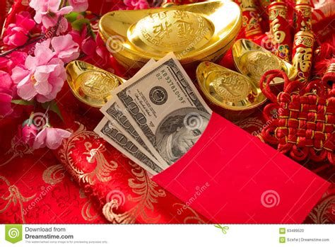 new year decoration with packets new year packet with dollars inside stock