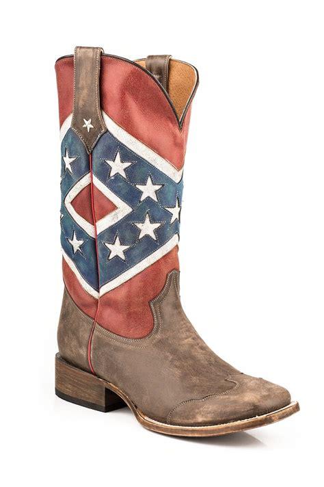 confederate flag boots roper mens american flags boots rebel flag brown toe cap