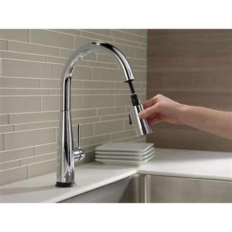 shop delta addison touch2o chrome 1 handle pull down touch delta essa single handle pull down kitchen faucet w