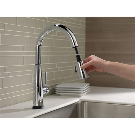 shop delta pilar touch2o chrome 1 handle pull down touch delta essa single handle pull down kitchen faucet w