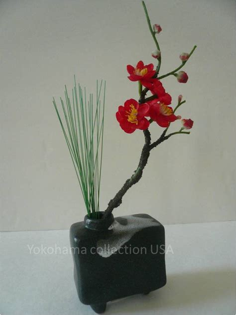 Japanese Decorative Of Flower Arrangement by Japanese Mini Rectangle Glacial Moraine Black Ikebana