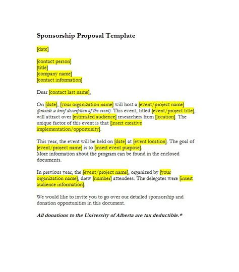Conference Sponsorship Template