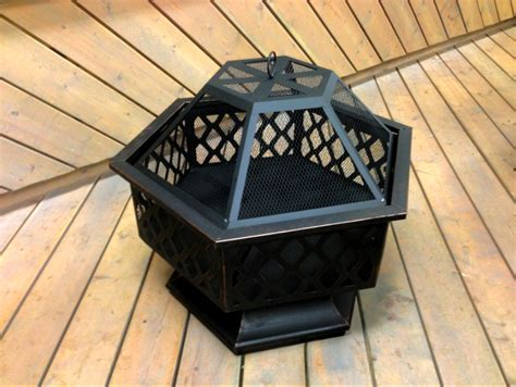 hexagon pit pit rubbed bronze outdoor hexagon pit