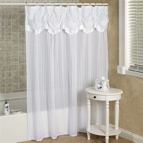 valance shower curtain nimbus stripe shower curtain with attached valance