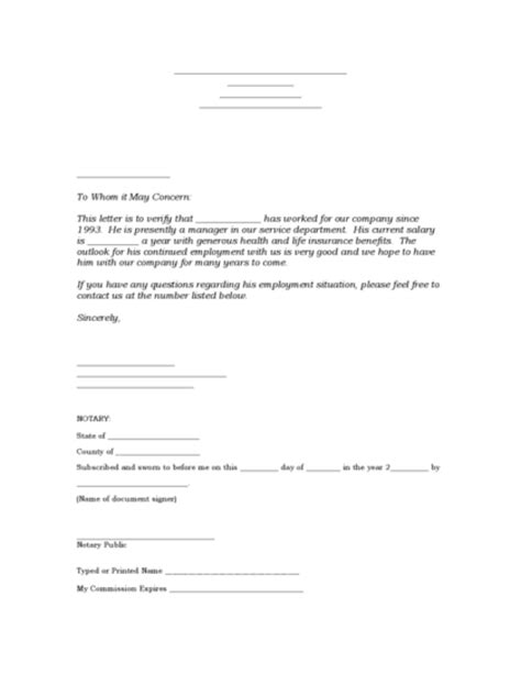 Verification Of Employment Letter For A Loan Employment Verification Letter Legalforms Org
