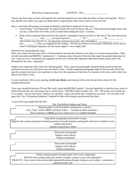 literary analysis essay example short story template outline simple