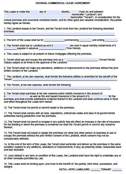 free printable lease agreement georgia free georgia gross commercial lease agreement pdf word