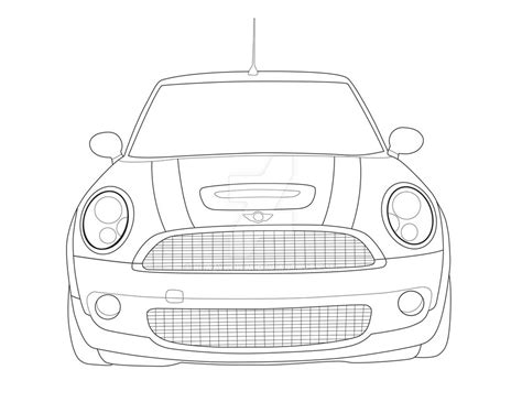 mini car coloring page mobile mini cooper line drawing sketch coloring page