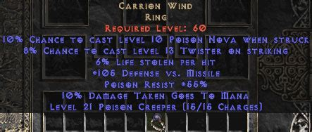carrion wind 6 8 ll unique rings diablo 2 lewt