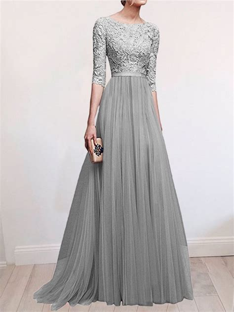 grey patchwork lace pleated  neck elbow sleeve