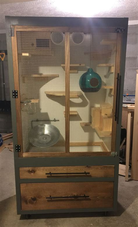 homemade chinchilla cage converted   wardrobe