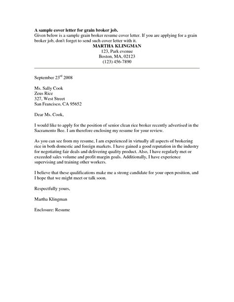 cover letter sles free for resume
