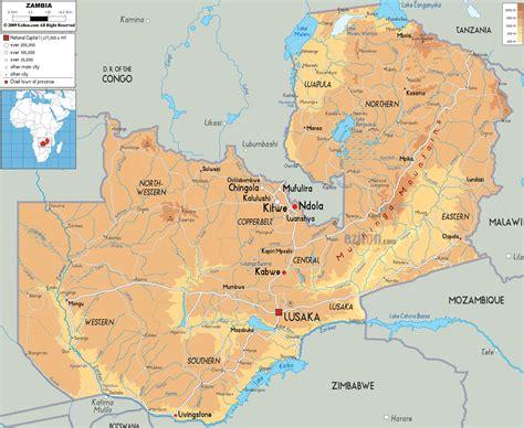 physical map  zambia ezilon maps