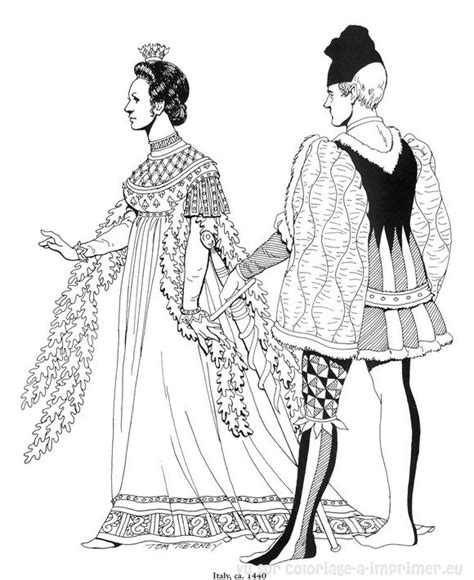 renaissance dress coloring page medieval gowns colouring pages