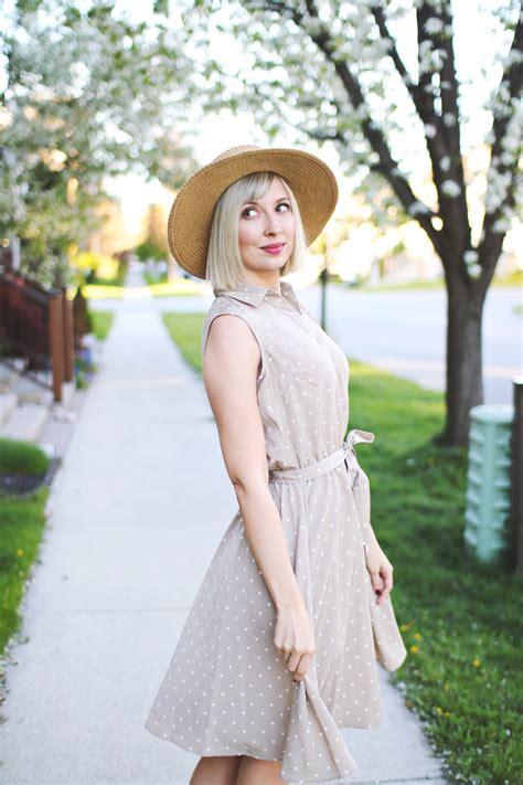 Stripi Polki Dress Hq may in bloom sears polkadot dress stripes and vibes style