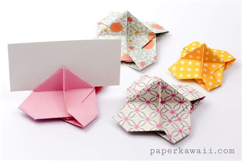 How To Make A Paper Card Holder - origami card holder paper kawaii