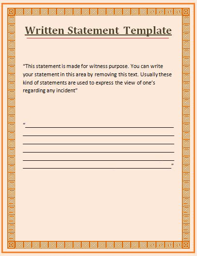 Witness Statement Template Free Word Templates Witness Statement Template