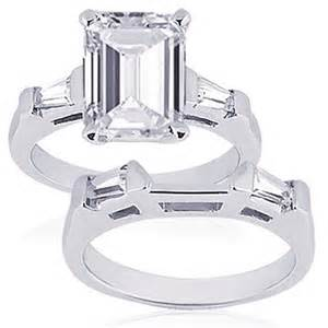 emerald cut wedding set 75 ct emerald cut 3 three engagement wedding rings set si1 emerald cut