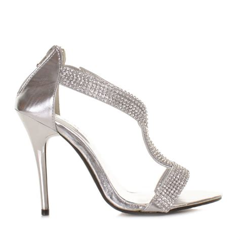 womens silver diamante high heel wedding prom