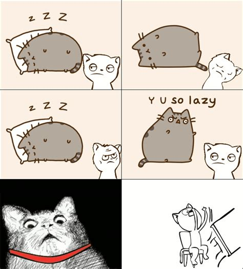 Pusheen Memes - pusheen cat meme hates lazy cats in rage comic gif