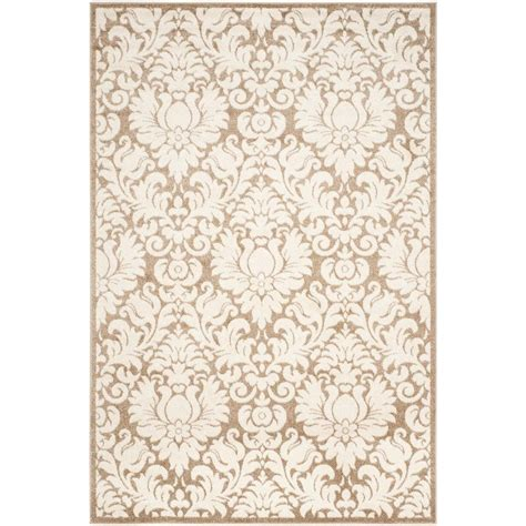 Safavieh Outdoor Rugs Safavieh Amherst Navy Beige 5 Ft X 8 Ft Indoor Outdoor Area Rug Amt414p 5 The Home Depot