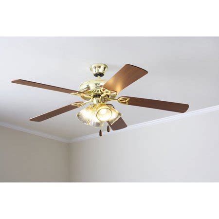 walmart ceiling fans with lights mainstays 52 quot ceiling fan with light kit bright brass