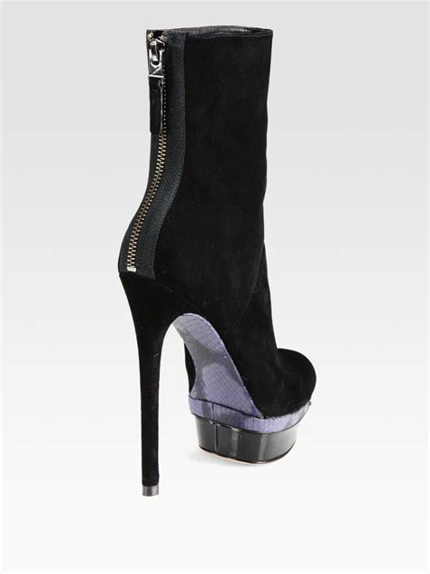 b brian atwood suede mixed media platform ankle boots in