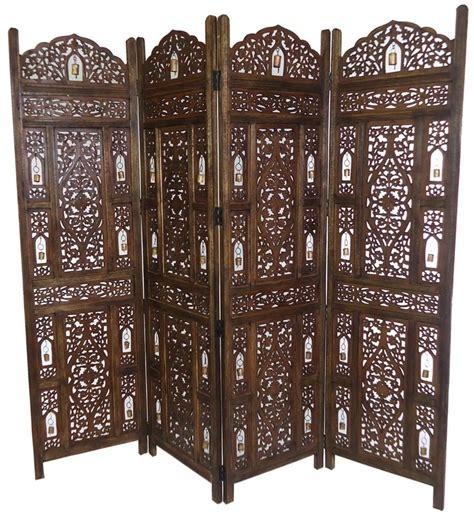 Wooden Screen Room Divider 4 Panel Carved Heavy Duty Indian Wooden Bells Design Screen Room Divider Ebay