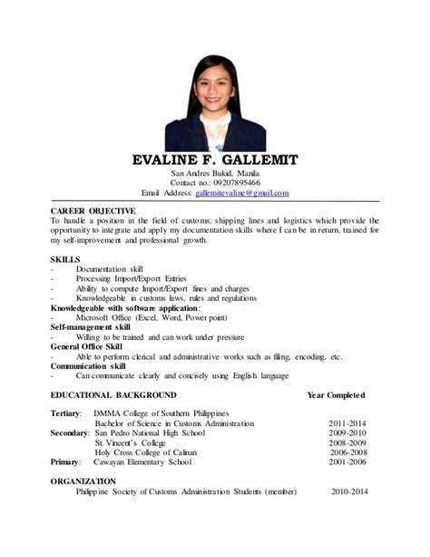 sle objectives in resume for ojt mass communication evaline resume