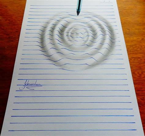 How To Make An Optical Illusion On Paper - 15 year artist creates remarkable lined paper 3d