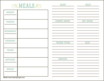 Free Printable Meal Planner Grocery List Jenallyson The Project Girl Fun Easy Craft Free Weekly Meal Planner Template With Grocery List