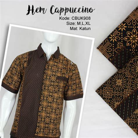 Kemeja Batik Hem Baju Batik Lengan Pendek Murah Btk144 kemeja batik katun motif cappucino kemeja lengan pendek