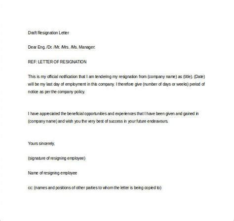 Resignation Letter Draft by Formal Resignation Letter 40 Free Documents In Word Pdf