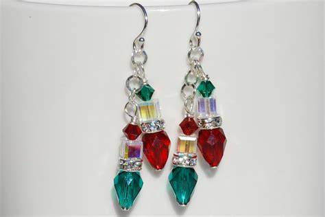 christmas light earrings swarovski crystal by ornatetreasures