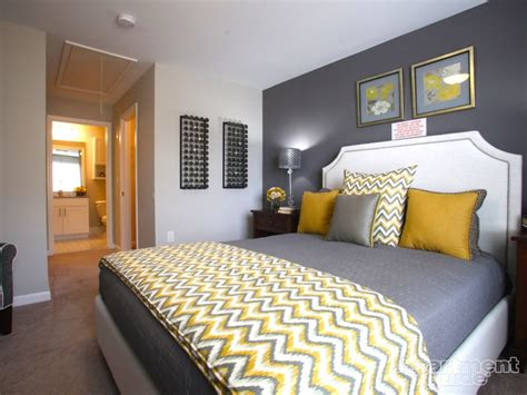 Grey Yellow Bedroom by We This Yellow Gray Palette In This Bedroom