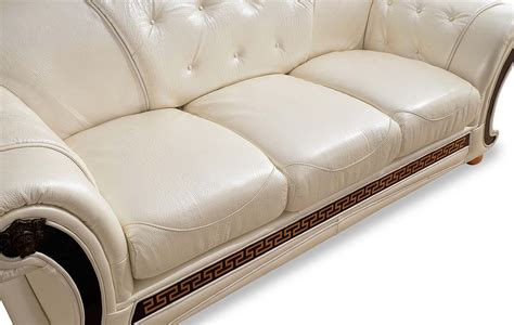 Luxury Sleeper Sofa by Versace Button Tufted Pearl White Italian Leather Luxury