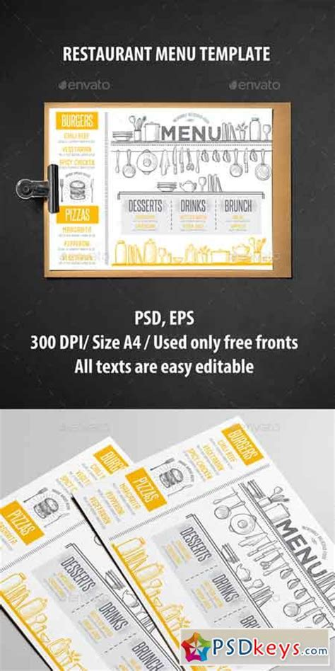 photoshop restaurant menu template restaurant menu template 19288575 187 free
