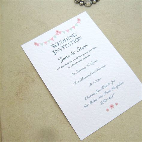 bunting wedding invitations wedding invitations bunting by edgeinspired
