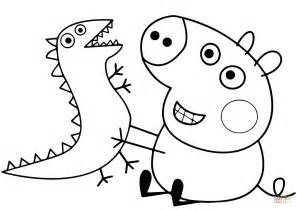 colouring pictures of peppa pig and george george pig plays with dragon coloring page free
