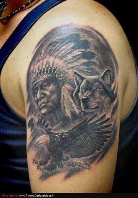 red indian tattoo designs for men indian wolf and eagle arm tattoos i like