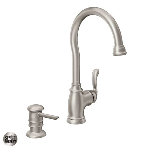 moen anabelle kitchen faucet moen 87682srs spot resist stainless high arc kitchen faucet with soap dispenser from the