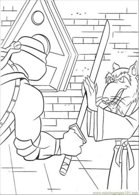 teenage mutant ninja turtles coloring pages splinter leonardo practices with splinter coloring page free