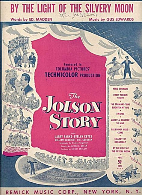 By The Light Of The Silvery Moon by By The Light Of The Silvery Moon The Jolson Story Sheet