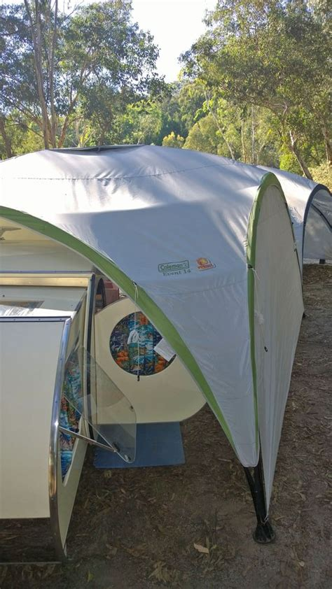 gidget retro teardrop cer with sides on the gazebo we can add extra privacy and an