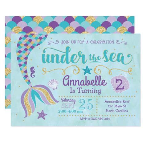 Mermaid Invitation Under The Sea Invite Zazzle Com Mermaid Birthday Invitation Templates