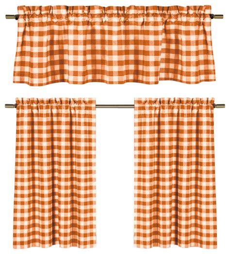Orange And White Kitchen Curtains by Orange White Gingham Kitchen Curtain Set 3