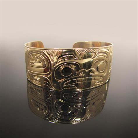 Ac 2437 Silver gold haida bracelet gallery