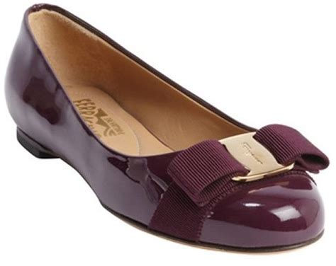Varina Fit L salvatore ferragamo purple patent leather bow detail
